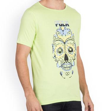 Incynk Half Sleeves Printed Cotton Tshirt For Men_Mht205p - Pista