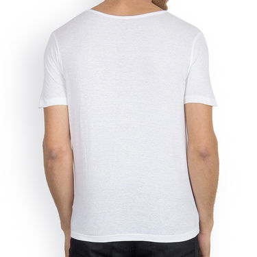Incynk Half Sleeves Printed Cotton Tshirt For Men_Mht205wht - White