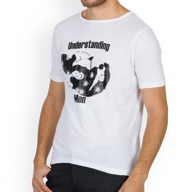 Incynk Half Sleeves Printed Cotton Tshirt For Men_Mht206wht - White