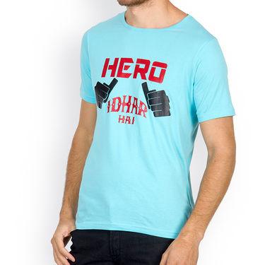 Incynk Half Sleeves Printed Cotton Tshirt For Men_Mht208aq - Aqua