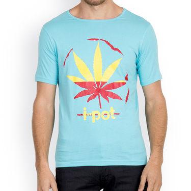 Incynk Half Sleeves Printed Cotton Tshirt For Men_Mht210aq - Aqua