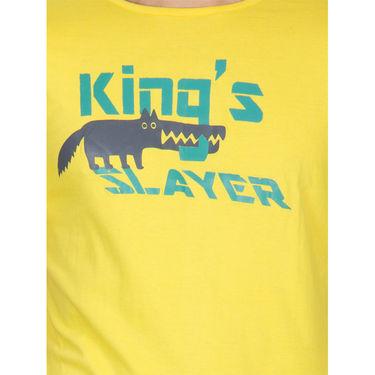 Incynk Half Sleeves Printed Cotton Tshirt For Men_Mht211yl - Yellow
