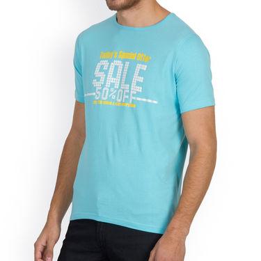Incynk Half Sleeves Printed Cotton Tshirt For Men_Mht215aq - Aqua