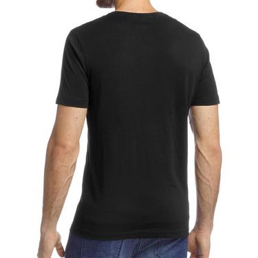 Branded Half Sleeves Printed Cotton T shirt For Men_Afbs - Black
