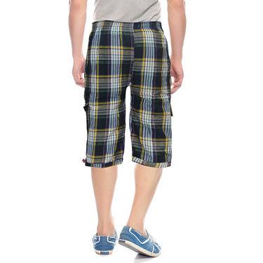 Delhi Seven Cotton Checks Capri For Men_D7Cg01 - Multicolor