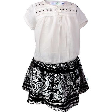ShopperTree Top With Black Printed Skirt twin Set_ST-1343