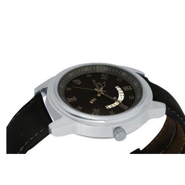 Dezine Round Dial Leather Wrist Watch For Men_1012blkblk - Black