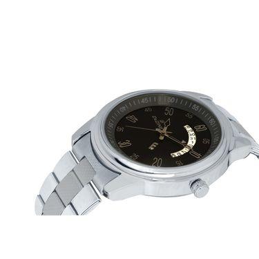 Dezine Round Dial Metal Wrist Watch For Men_1012blkch - Black