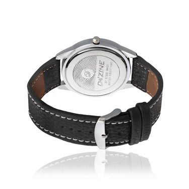 Dezine Round Dial Leather Wrist Watch For Men_057blkblk - Black