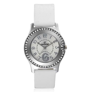 Dezine Round Dial Leather Wrist Watch For Women_2000whtwht - White