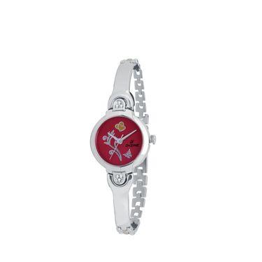 Dezine Round Dial Metal Wrist Watch For Women_3000rdch - Red