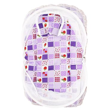 Wonderkids Purple Strawberry Print Baby Bedding Set With Mosquito Net_MW-182-PSBMS