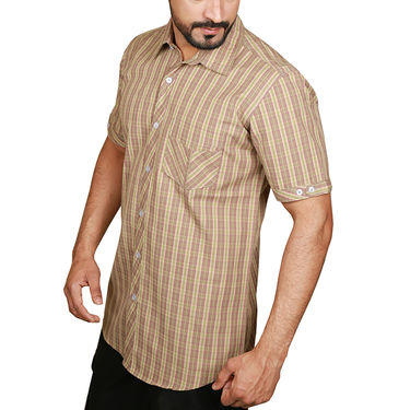 Sparrow Clothings Cotton Checks Shirt_wjc22 - Brown