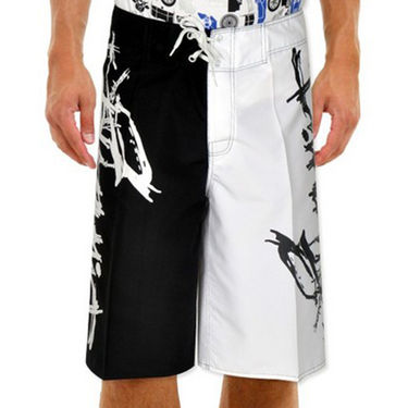 Billabong Poly Cotton  Printed Shorts_bysht5 - White & Black