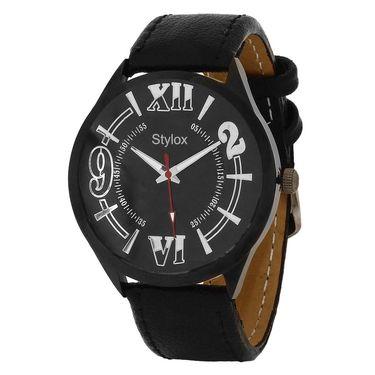 Stylox Round Dial Analog Watch_whstx123 - Black