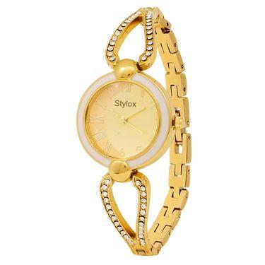 Stylox Round Dial Analog Watch_whstx506 - Golden