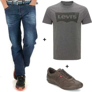 Combo of Levis (Blue) Denim, T Shirt (Grey) and Shoe (Brown)