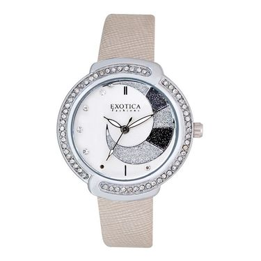 Exotica Fashions Analog Round Dial Watch For Women_Efl27w53 - White & Silver