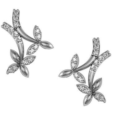 Avsar Real Gold and Swarovski Stone Aruna Earrings_Bge055wb