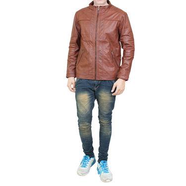 Branded Leatherite Jacket_Os15 - Brown