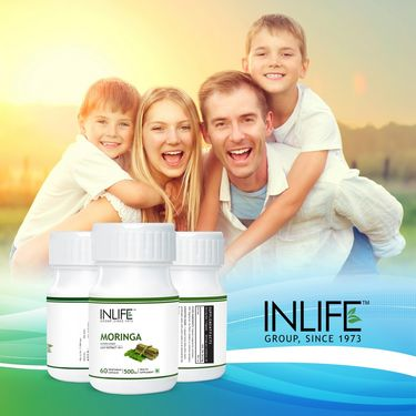 INLIFE Moringa Oliefera Leaf Extract, 60 Veg Capsules For Weight Loss & Digestion