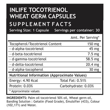 INLIFE Tocotrienols & Wheat Germ Oil With Tocopehrols Vitamin E, 30 Capsules