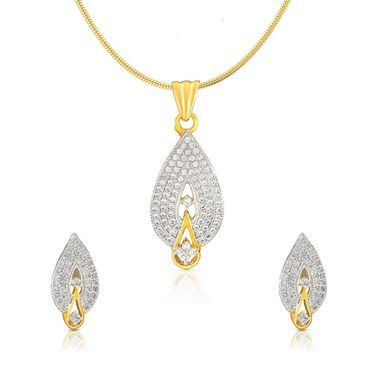 Mahi Gold Plated CZ Pendant Set_Nl1100108g
