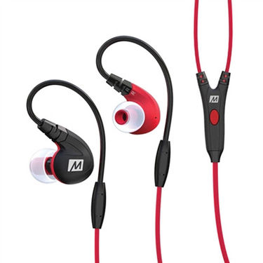 MEE M7P Secure-Fit Sports In-Ear Headphones with Mic, Remote, and Universal Volume (Red)