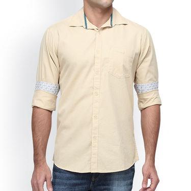 Crosscreek Full Sleeves Cotton Casual Shirt_1180303F - Cream