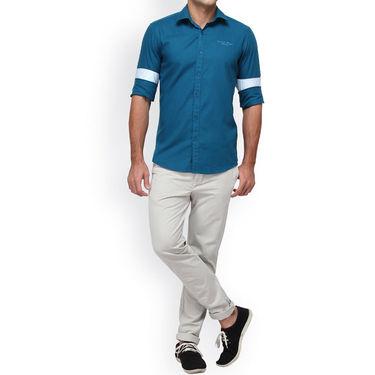 Crosscreek Full Sleeves Cotton Casual Shirt_1180312F - Blue