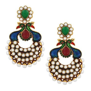 Spargz Peacock Enamel Antique Earring_Aier095 - Multicolor
