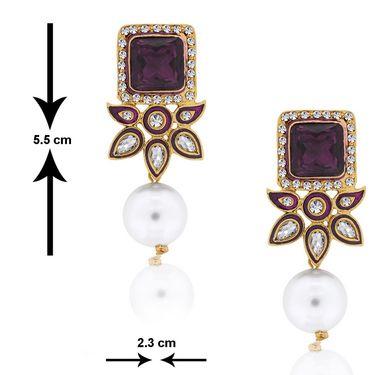 Spargz Dangling Kundan Pearl Earring_Aier165 - Purple