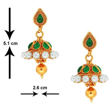 Spargz Ethnic Earring Studded With Pearl_Aier295 - Multicolor