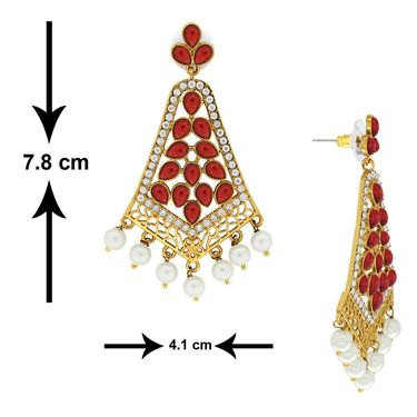 Spargz Pearl Drop Red Earring_Aier326 - Red & White