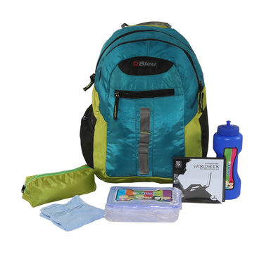 Kids Back To School 43cm Bagpack Combo For Boys Blue & Lime - CB1402