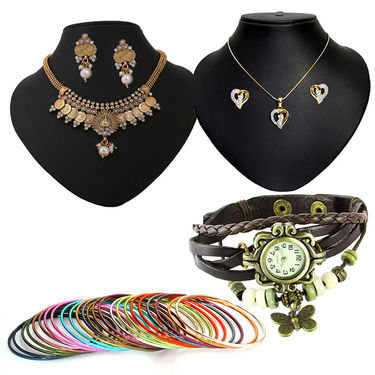 Combo of Pourni Pendant Set + Necklace Set + Bangle & Vintage Watch_Dcombo02