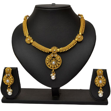 Pourni Attractive Design Pearl Necklace Earring Jewellery Set_Prnk10