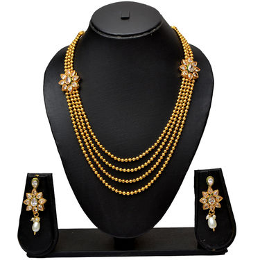 Pourni Traditional Golden Finishing Long Necklace Rani Haar with Stunning Earring_Prnk13