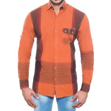 Brohood Slim Fit Full Sleeve Cotton Shirt For Men_C7001 - Orange