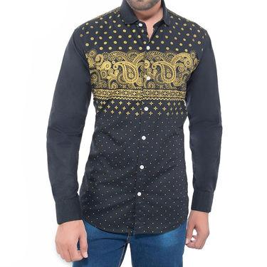 Brohood Slim Fit Full Sleeve Cotton Shirt For Men_A50137 - Black