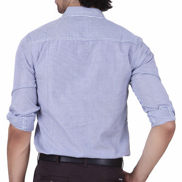 Mind The Gap Full Sleeves Shirt For Men_S7172 - White & Blue