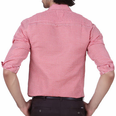 Mind The Gap Full Sleeves Shirt For Men_S7173 - Red & White