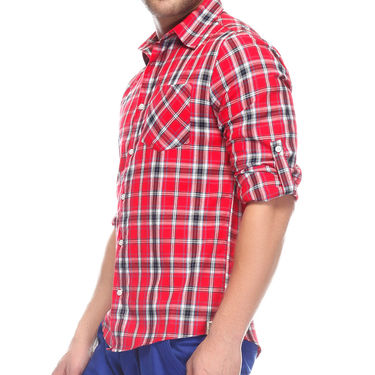 Mind The Gap Full Sleeves Shirt For Men_S7104 - Red
