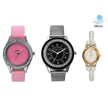Combo of 3 Oleva Analog Wrist Watches For Women_Ovd172