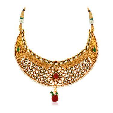 Spargz Brass Metal Necklace Set_Ains081