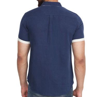 Branded Linen Casual Shirt_Zara04 - Navy Blue