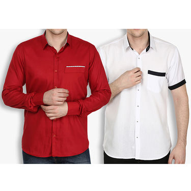 Pack of 2 Stylox Cotton Shirts_2433 - Maroon & White