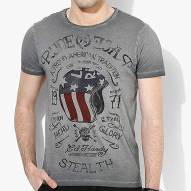 Branded Cotton Slim Fit Tshirt_Edhc01 - Dark Grey