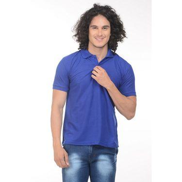 Plain Comfort Fit Blended Cotton TShirt_Ptgdb - Blue