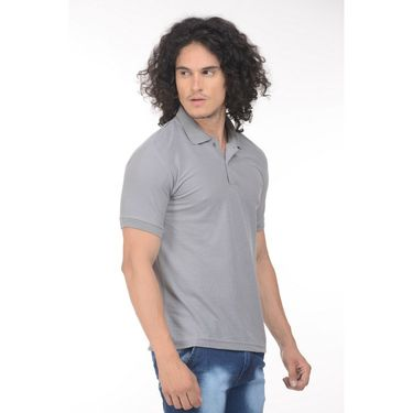 Plain Comfort Fit Blended Cotton TShirt_Ptgdgry - Grey